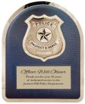 Police Badge on Blue Background Hero Plaque Arch Awards