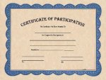 Certificate of Participation Award Fill in the Blank Certificates