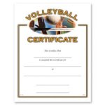 Volleyball Certificate Award Fill in the Blank Certificates