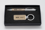 Taupe Leather Gift Pen and Key Ring Key Rings