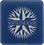 Leatherette Square Coaster -Blue/Silver Kitchen Gifts