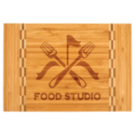 Bamboo Cutting Board with Butcher Block Inlay Kitchen Gifts