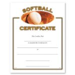 Softball Certificate Award Softball Trophy Awards