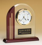 Arched Clock with Rosewood Piano Finish Post and Base Wood Metal Accent Awards